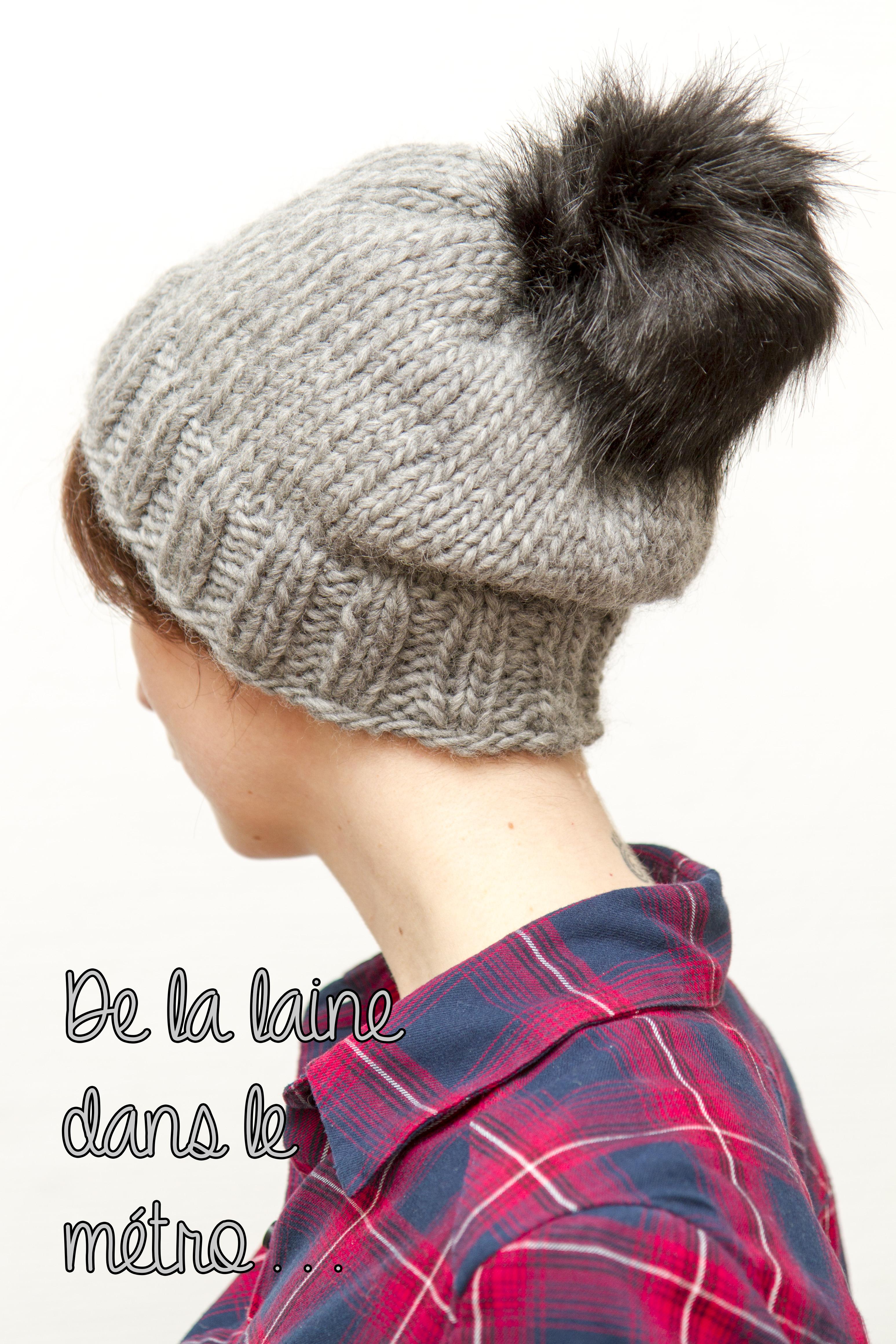 bonnet laine drops design et pompons de fourrure de la. Black Bedroom Furniture Sets. Home Design Ideas